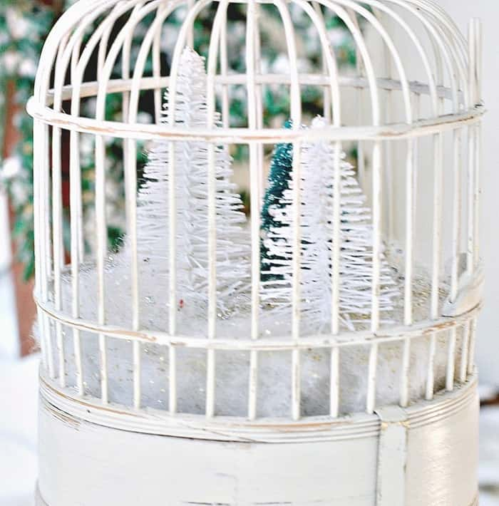 winter white snow scene in a wood brid cage with Christmas trees