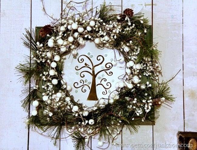 Partridge in a pear tree wreath stencil project