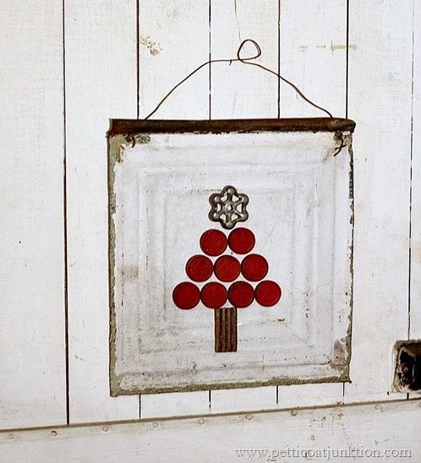 checker game piece Christmas tree wall decor