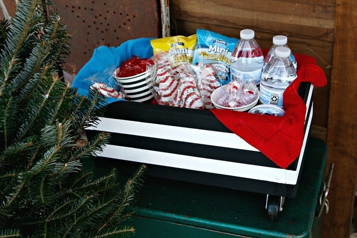 keep a box of goodies by the door during the holidays for your favorite delivery guys