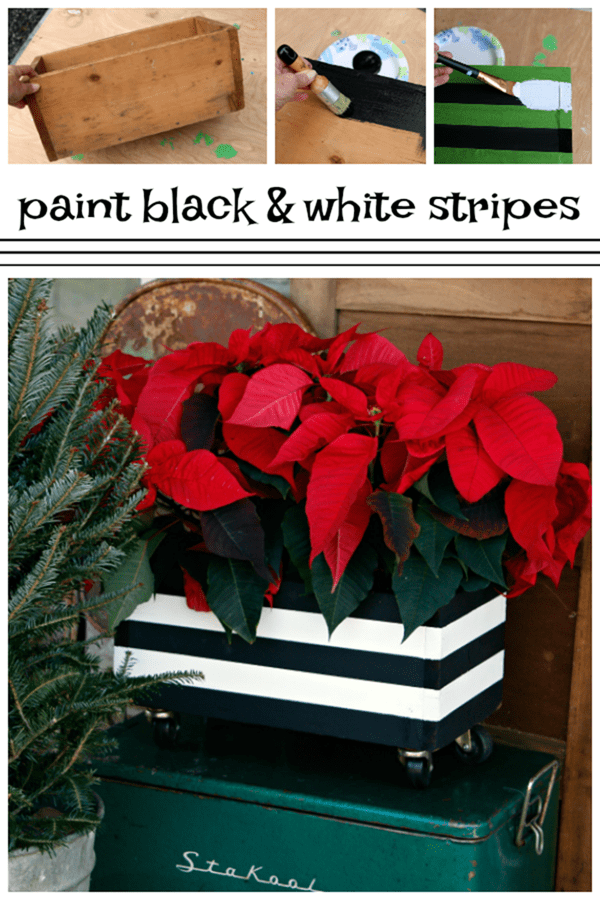 paint black and white stripes on wood