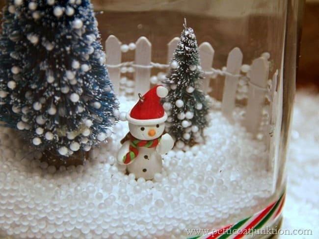 snowman snow scene in a jar
