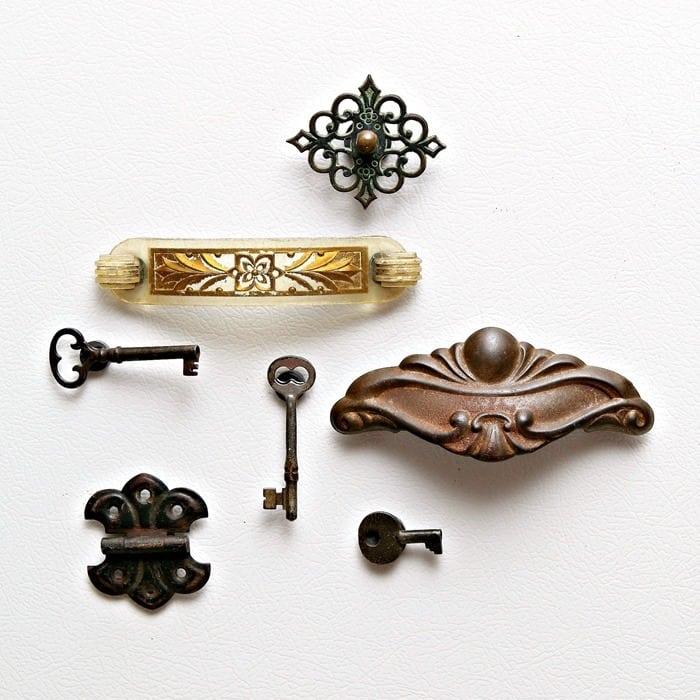 vintage hardware and key magnets