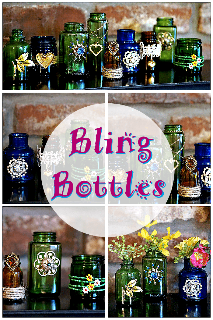 Decorate colored bottles and jars with jewelry to make pretty vases.