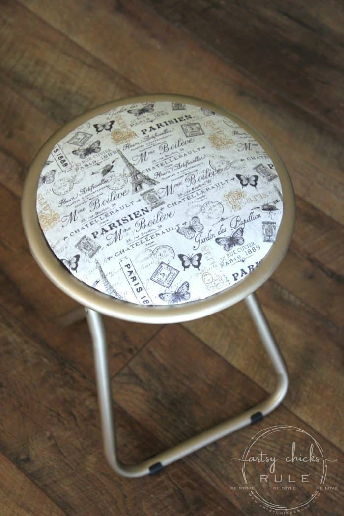 Frenchy-Stool-Makeover-with-Spray-Paint-Fabric-4-artsychicksrule