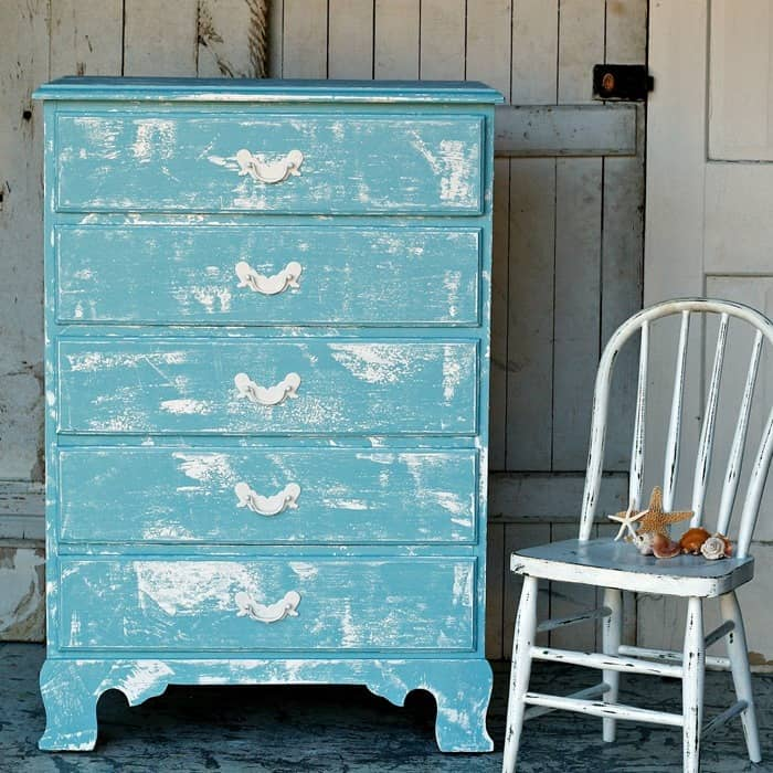 This chalk finish paint layering trick is fast and easy. I tried it out on my latest furniture project. The chest of drawers is coastal or beachy