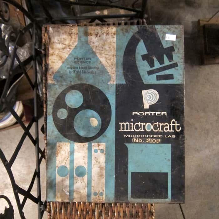 Kids microscope set in metal box