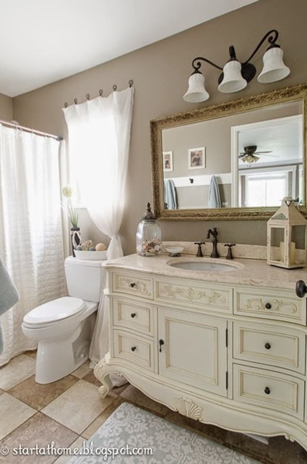 Start at Home Decor Master Bath Painted Mirror