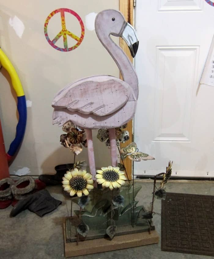 Wooden Pink Flamingo Planter And Auction Buys