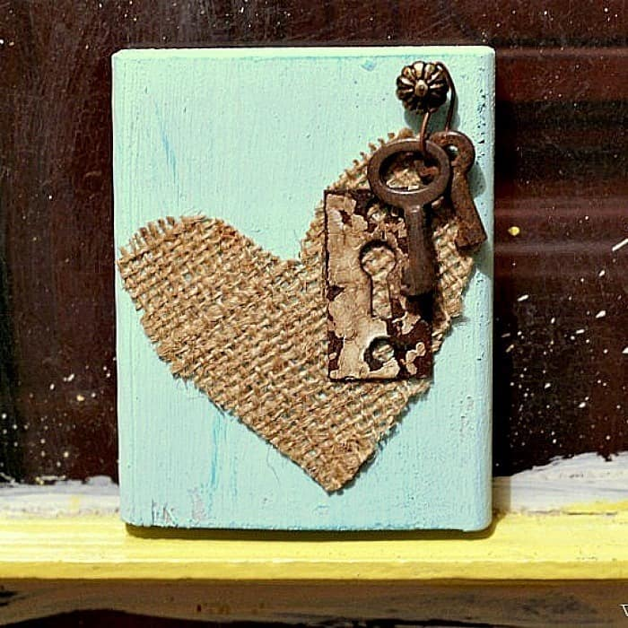 burlap heart with antique key wall decor