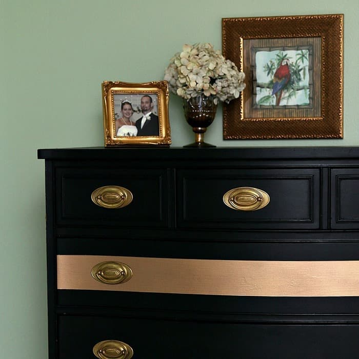 gold stripe chest of drawers with gold tone furniture hardware