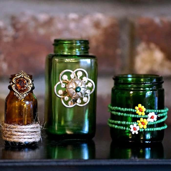 green and brown decorative bottle vases