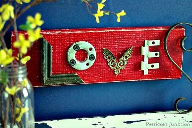 make a love wall sign using reclaimed junk