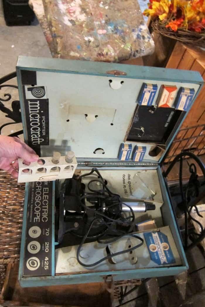 vintage school microscope set