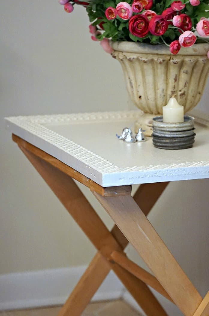 Antique Frame Top Turns A Folding Tray Table Stand Into A Unique Table