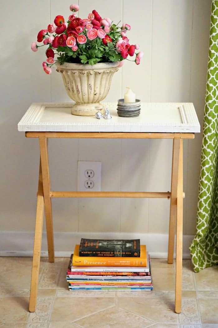 Antique Frame Turns A Folding Tray Table Stand Into A Unique Table