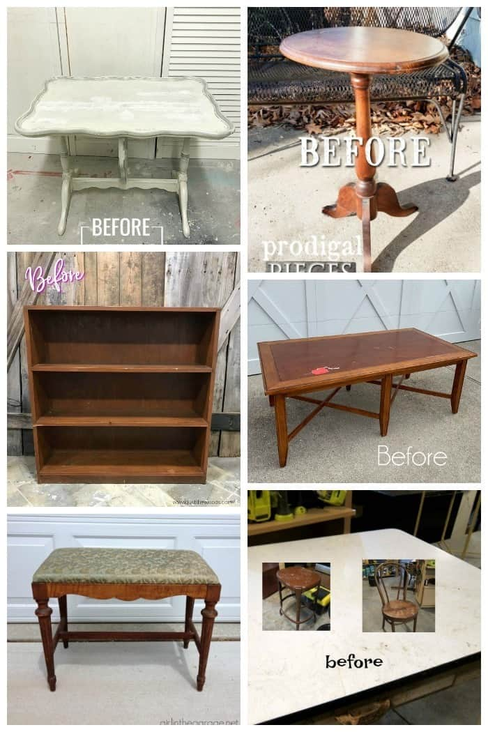 Furniture Fixer Upper Projects before makeovers