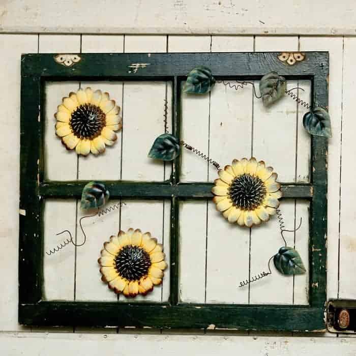 Repurpose Old Windows Using Metal Sunflower Lawn Art