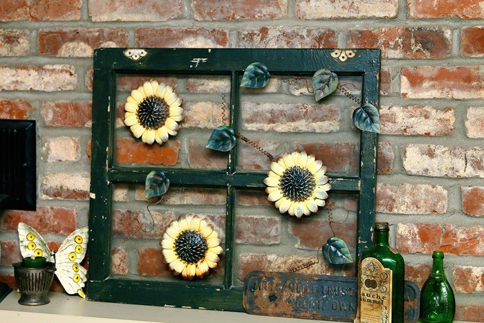 Repurpose Old Windows decorating them with junk finds