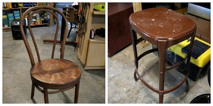 chair and metal stool for spray paint project
