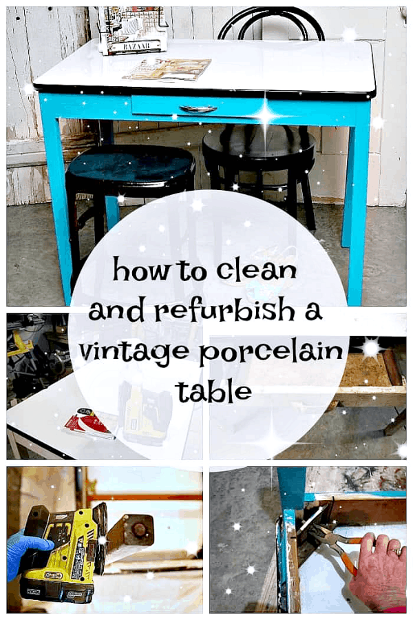 how to refresh a vintage porcelain enamel table top