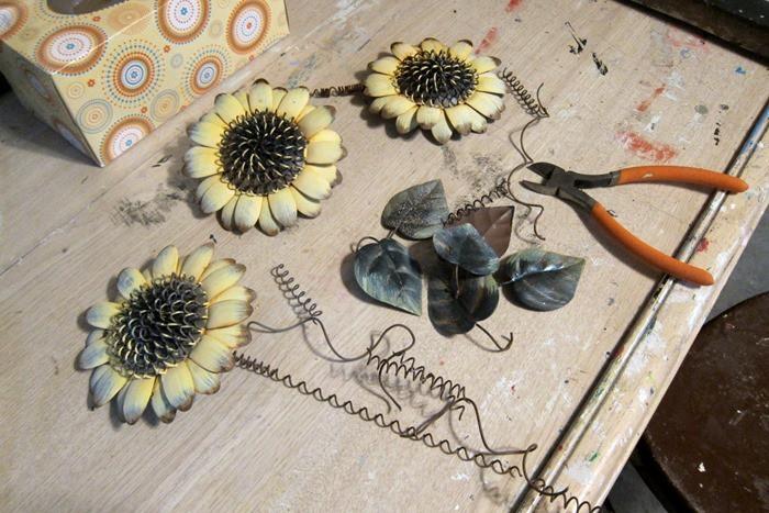metal sunflower upcycled window art