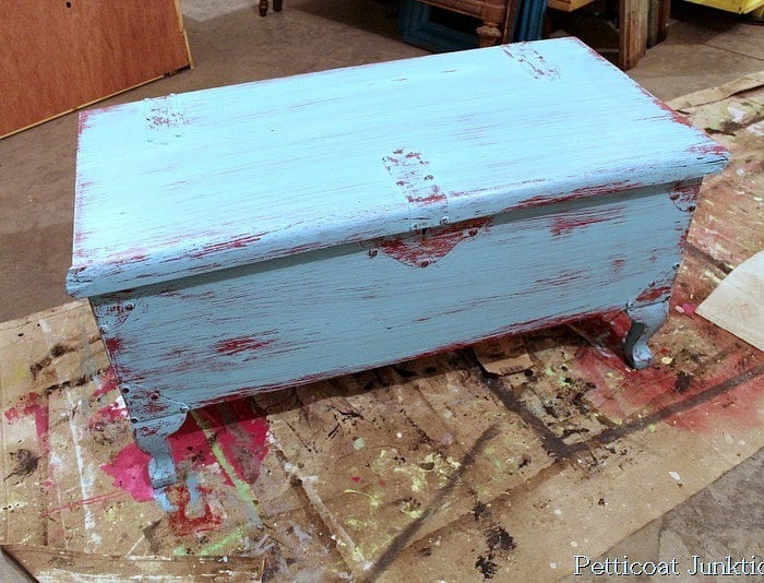 vaseline distressed and painted cedar chest