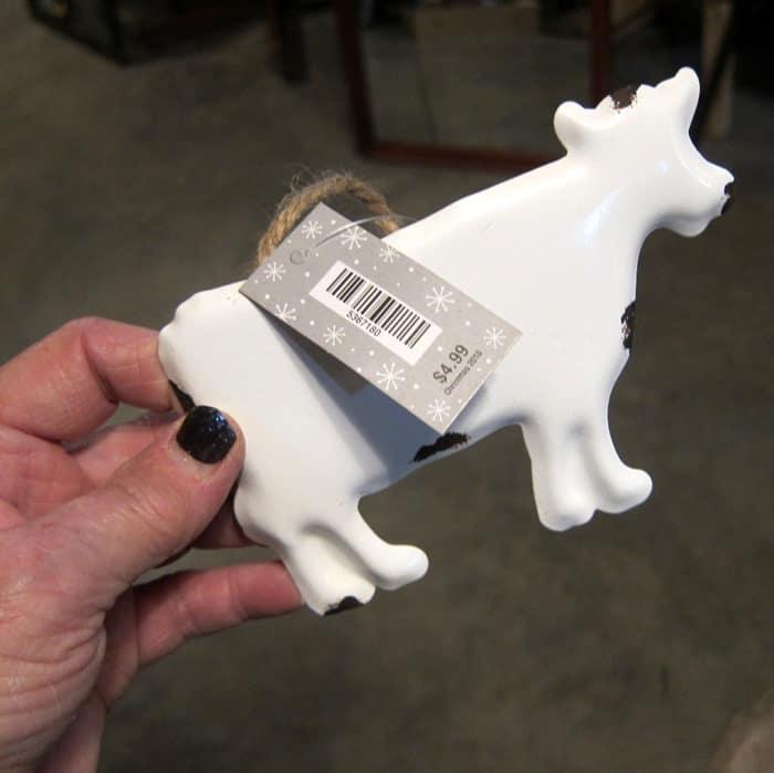 white enamal cow
