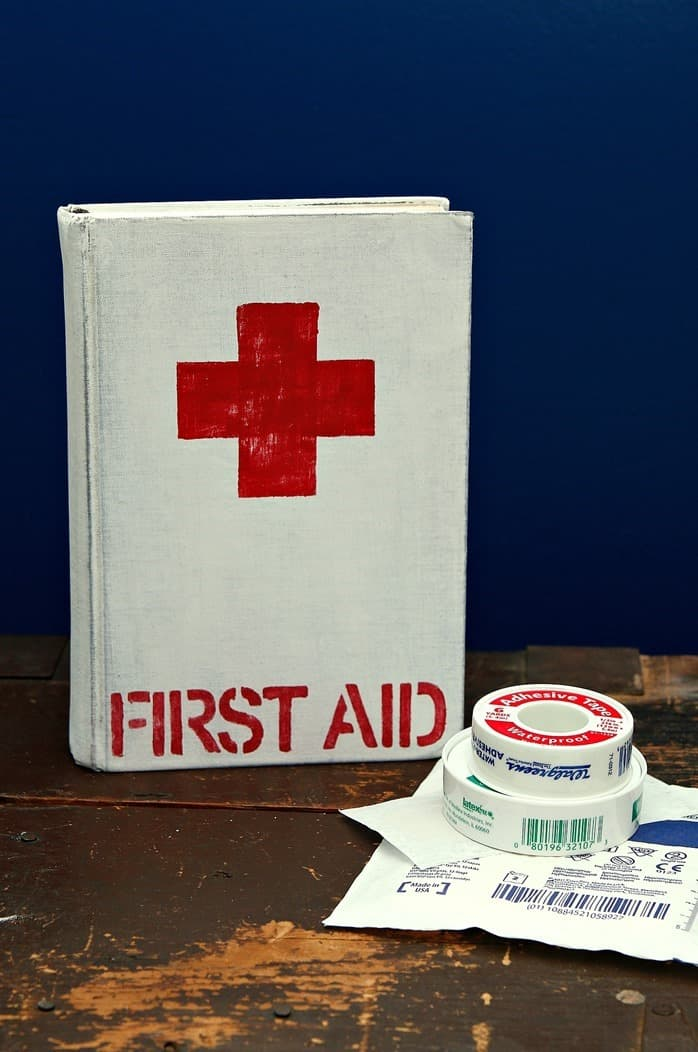 How To Paint A Book To Look Like A Vintage Red Cross First Aid Book