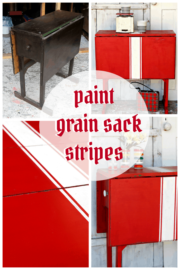 How to paint grain sack stripes on a table top