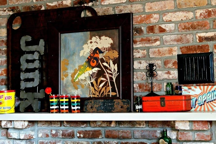 Mantel Makeover using thrifty finds and bright colors