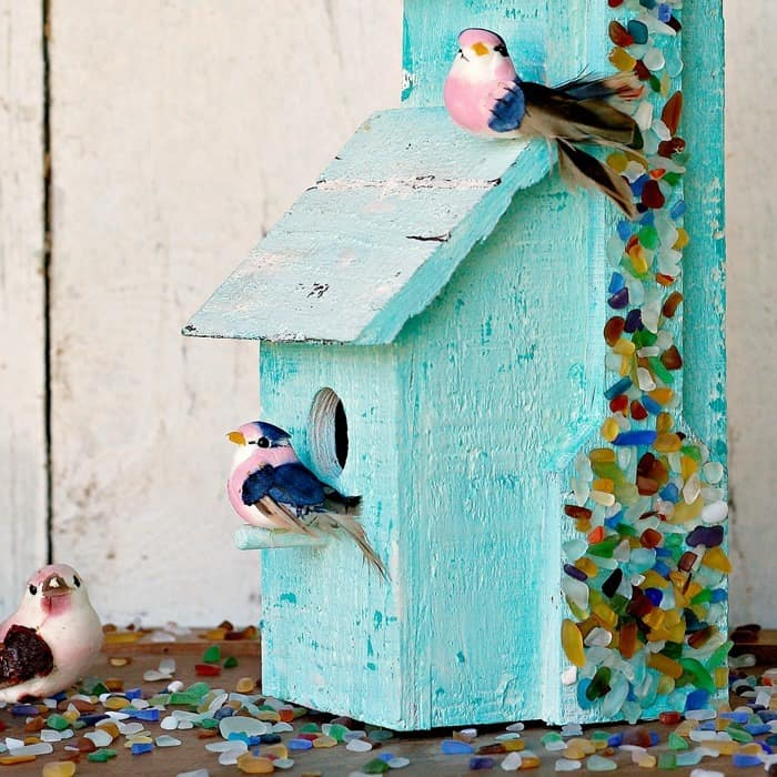 Sea Glass Birdhouse DIY Using Spray On Mod Podge Ultra