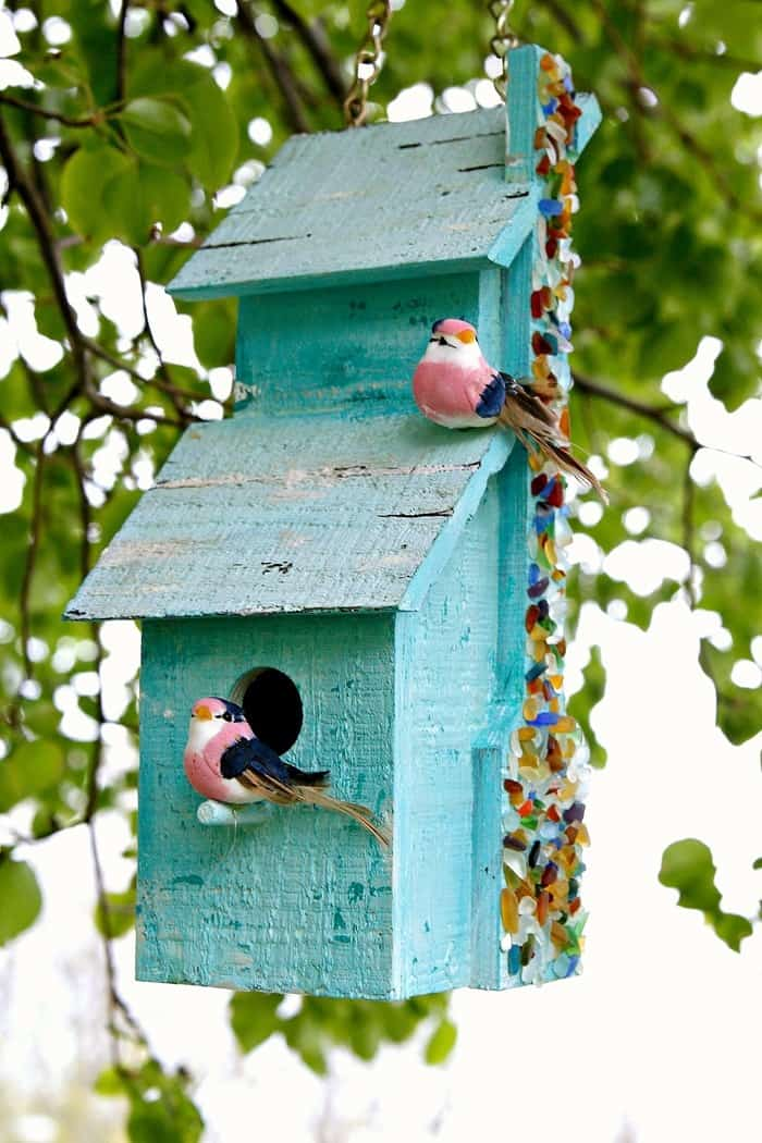 Sea Glass Birdhouse DIY