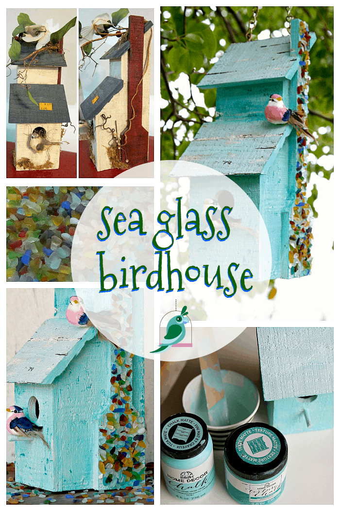 Sea Glass Birdhouse project using Mod Podge Ultra