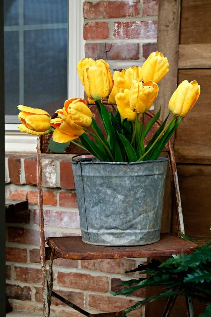Spring Porch Decorating With Yellow Tulips