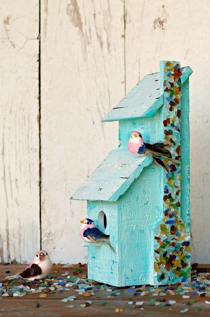 Tacky Birdhouse Gets A Sea Glass Makeover Using Spray On Mod Podge Ultra