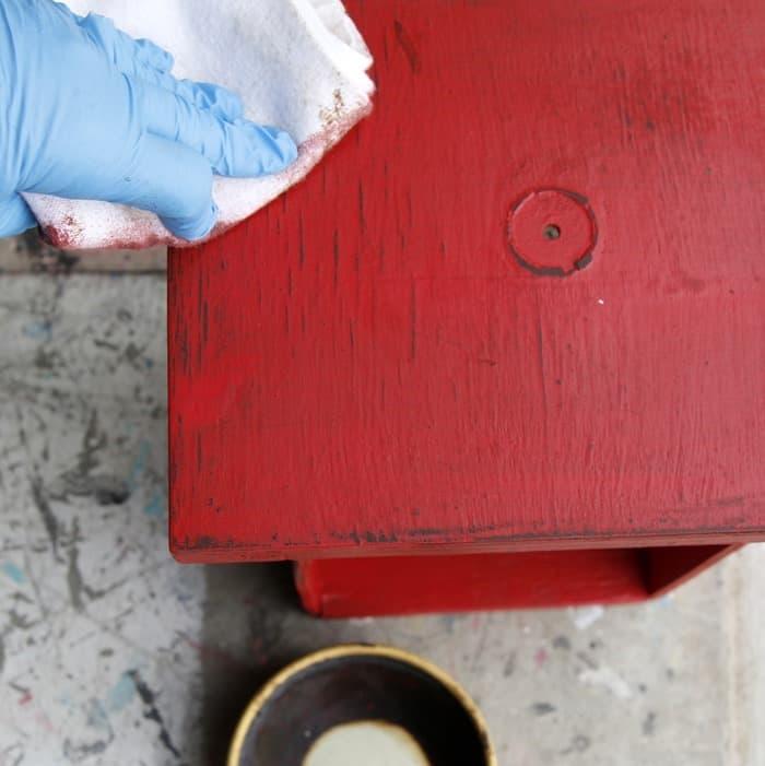 dark wax to finish painted furniture
