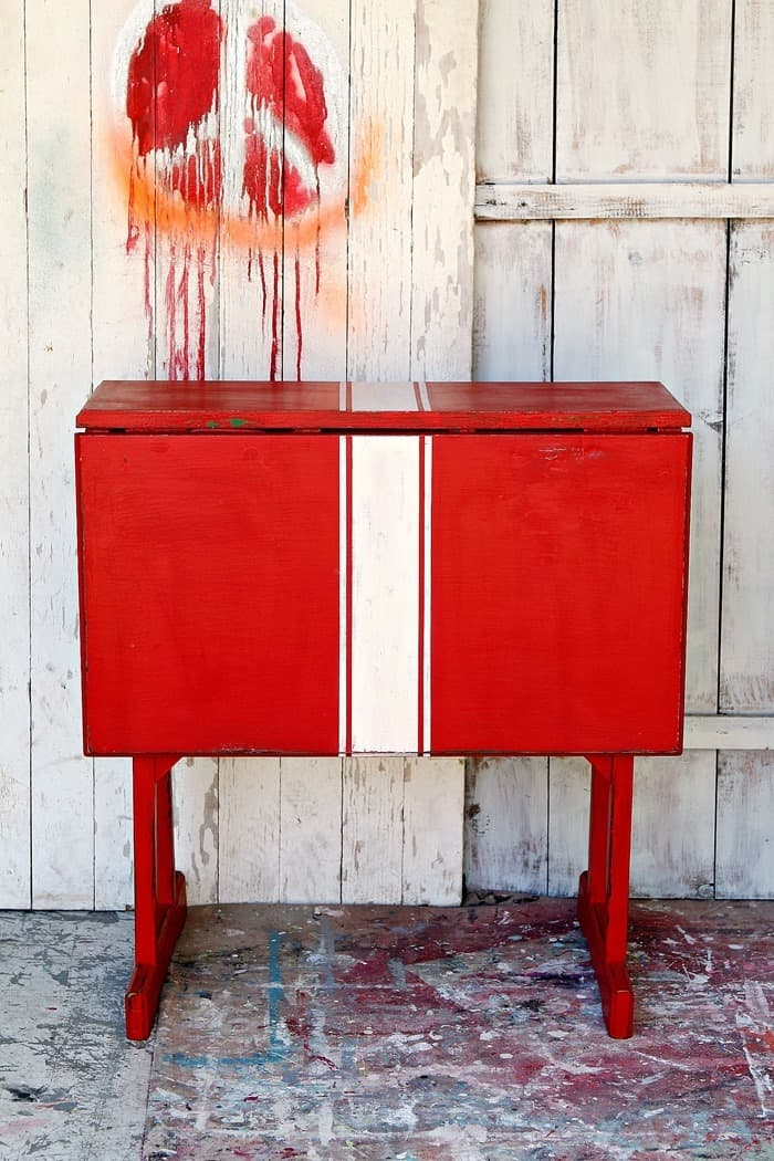 how to paint grain sack stripes on red furniture
