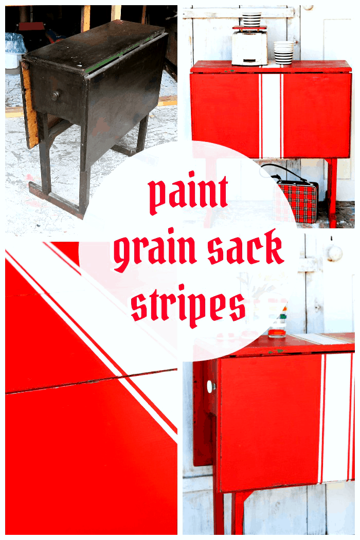 how to paint white grain sack stripes on red furniture