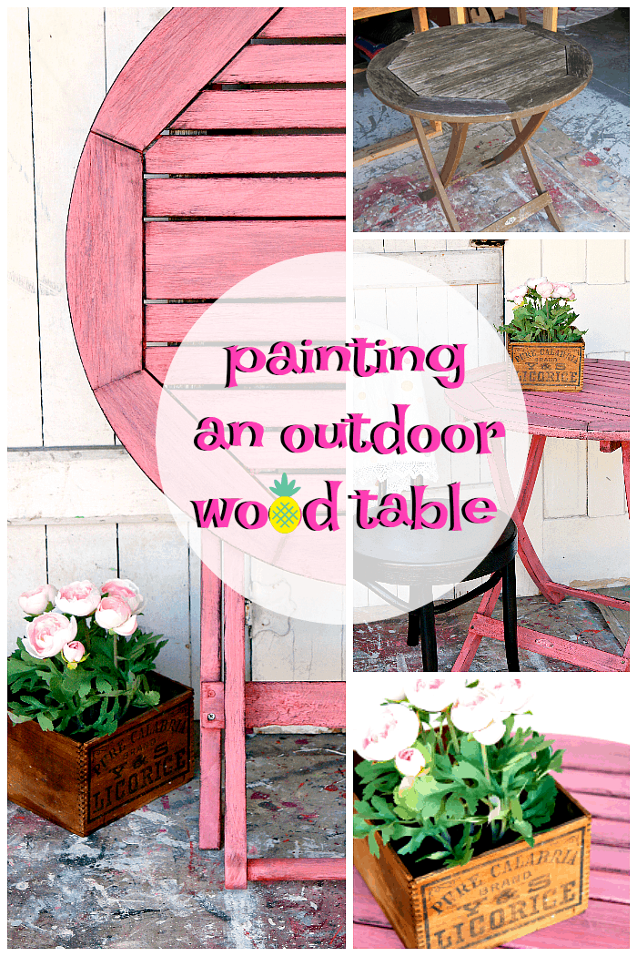 painting an outdoor wood table