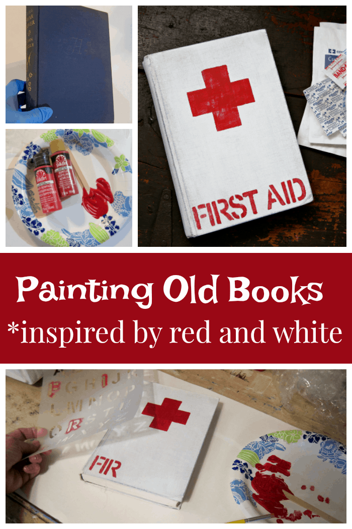 painting old books red and white with the red cross symbol