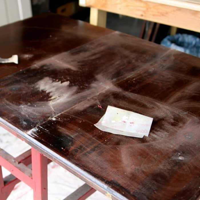 prepping a table for painting
