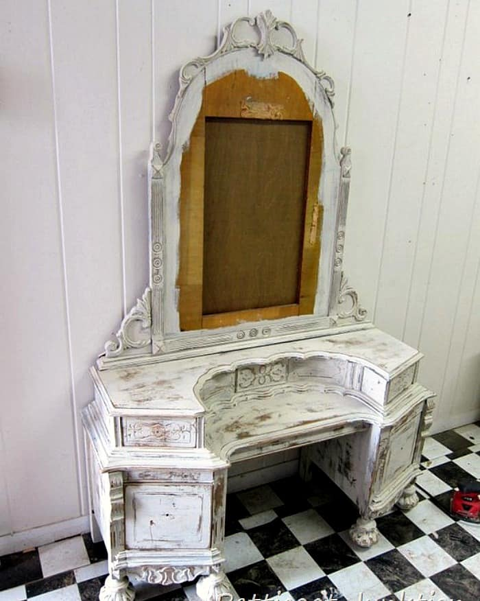 shabby chic white dresser painted at a furniture workshop