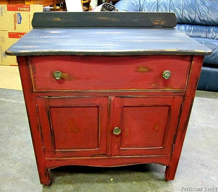 two tone red and black furniture