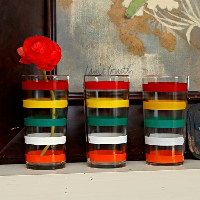 vintage dring glasses with bold stripes for home decorating