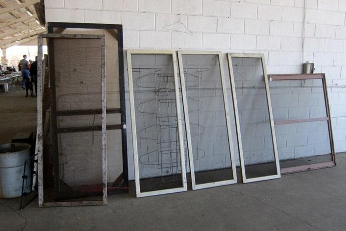 vintage window screens and screen door at the Nashville Flea Market