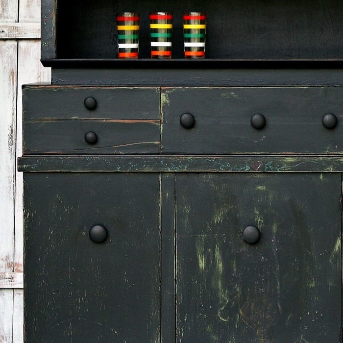 Black Farmhouse Style Hutch painted and distressed