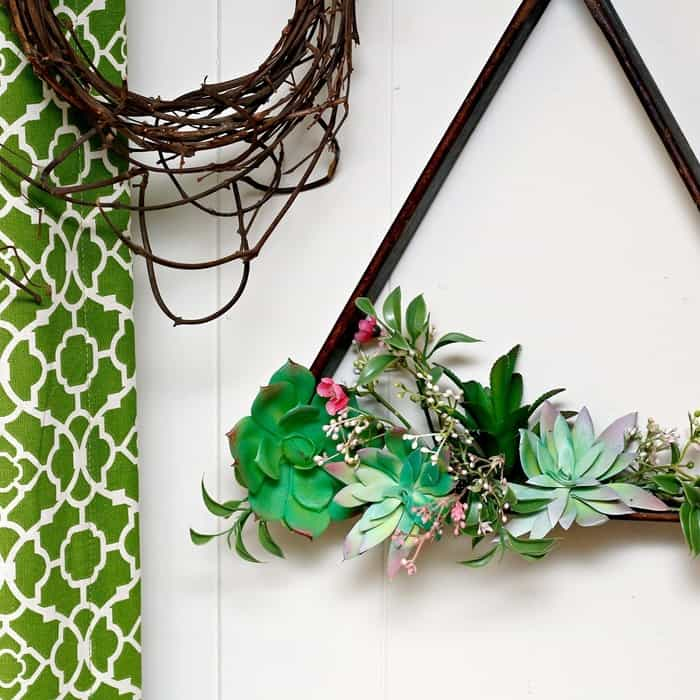 Hanging Succulent Plant Display Idea Using A Wood Pool Ball Rack