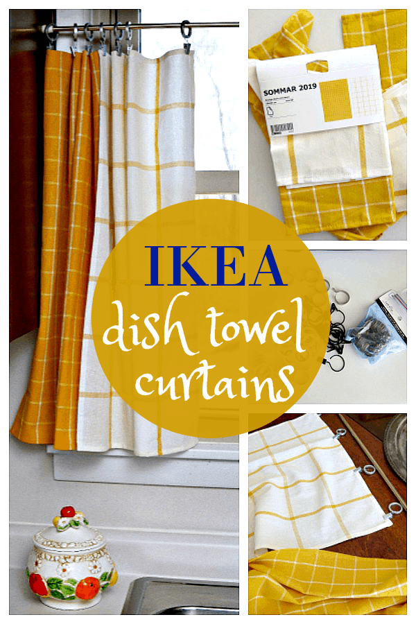 IKEA dish towels make great curtain tiers for the kitchen
