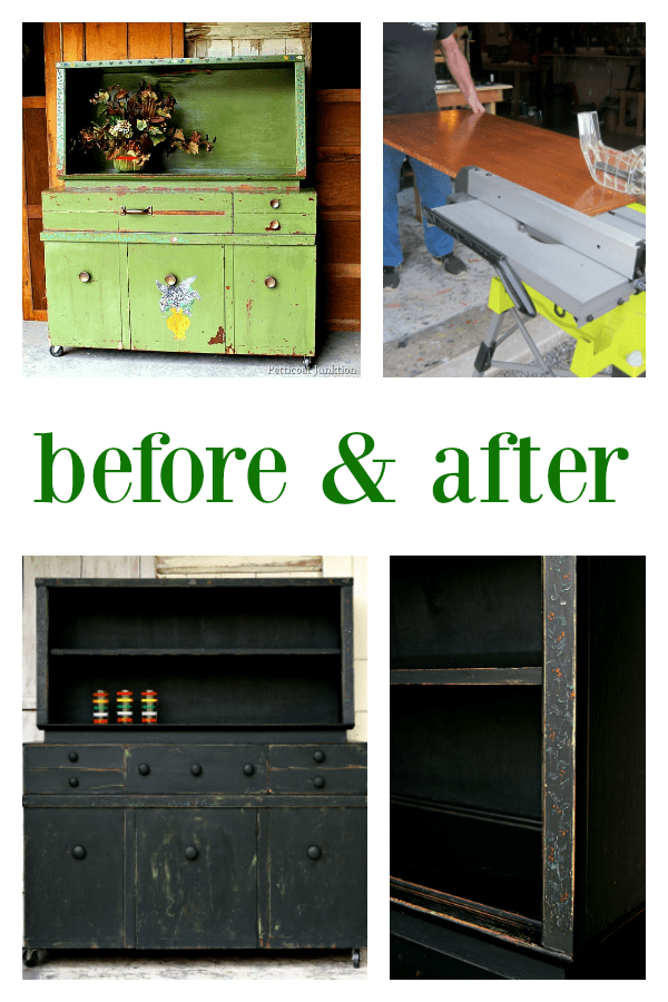 Primative Farmhouse Style Hutch repaired and painted black with distressed details